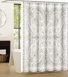 Awesome Tahari Luxury Cotton Shower Curtain Large Paisley Medallions Boho Style  Gray Beige Grey Taupe By Tahari