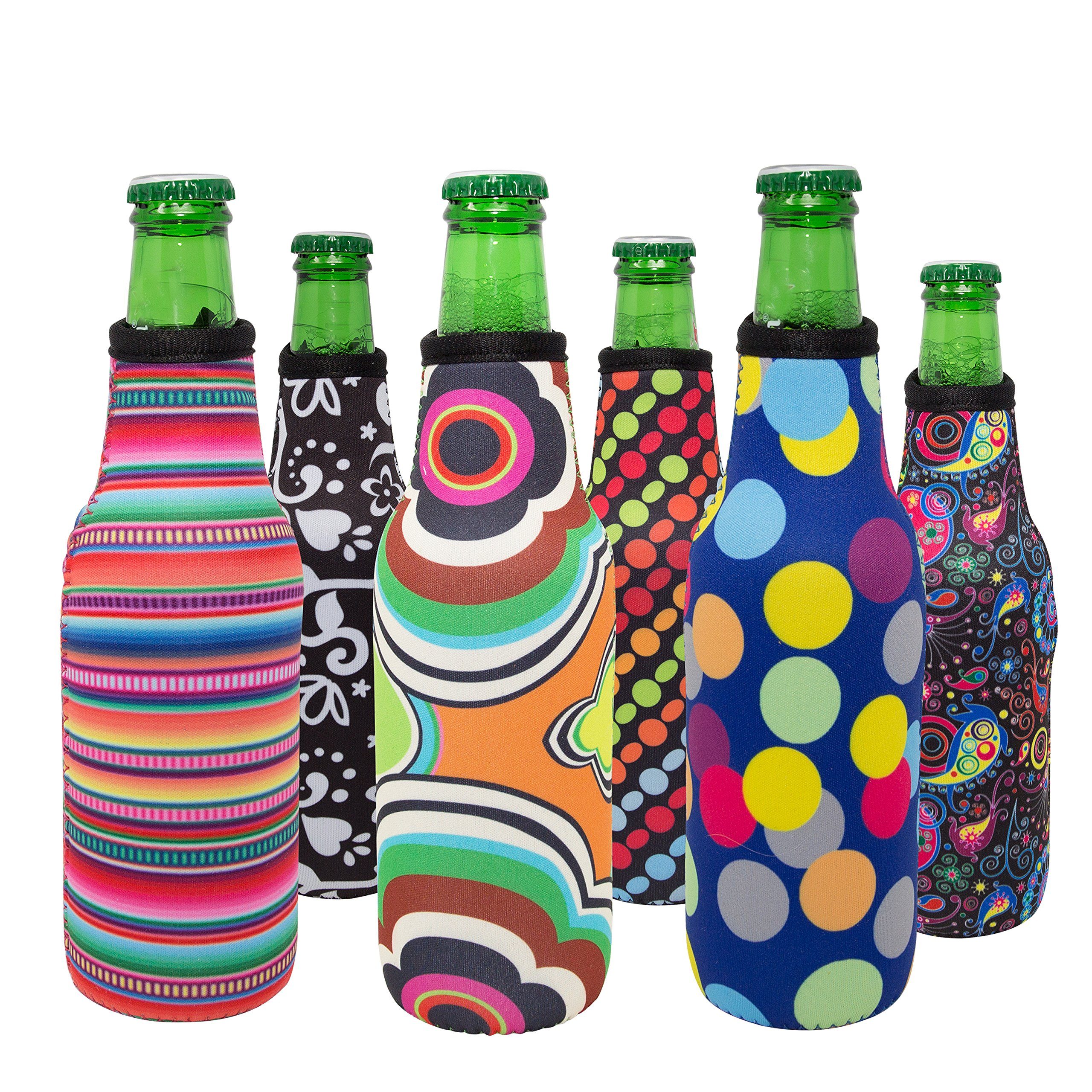 Beer Bottle Cooler Sleeve Set of 6 Fun Trendy Design 3mm Neoprene Zipper Sleeve Fully Stitched Insulated Beer Bottle Covers