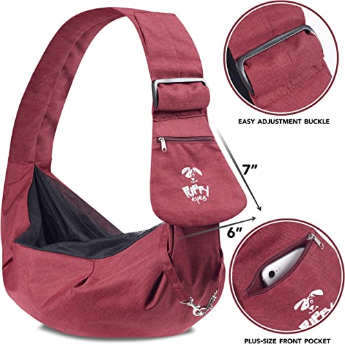Puppy Eyes Waterproof Pet Carrier Sling Comfortable and Adjustable Dog Sling Ideal for Small and Medium Dogs up to 16 Pounds – Lightweight and Easy-Care Dog Carrier with Safety Mesh and Safety Leash