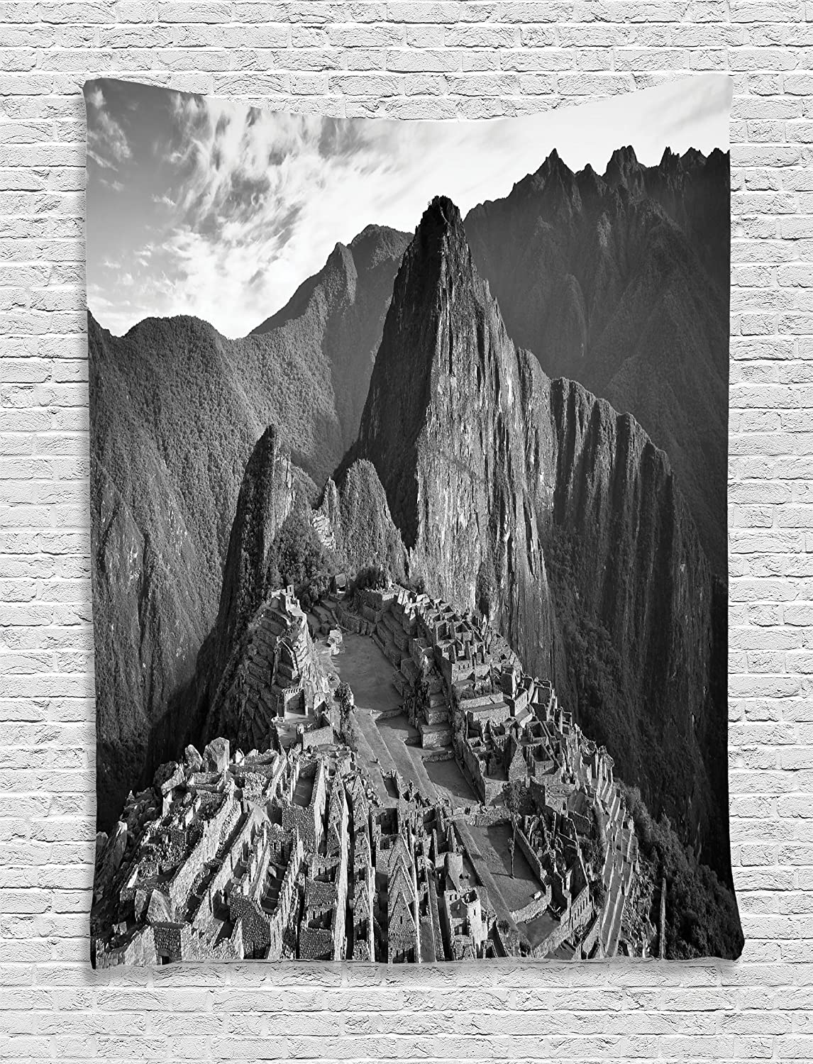 Ambesonne Black and White Tapestry, Aerial View of Peru Village Architectural Landmark Buildings Day Time, Wall Hanging for Bedroom Living Room Dorm Decor, 40