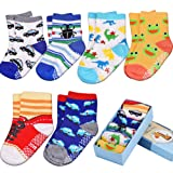 Toddler & Baby Socks, Non Slip, Contton Blended Strentchable 6-Pack boxed set for 12-36 Month Baby Girls and Baby Boys