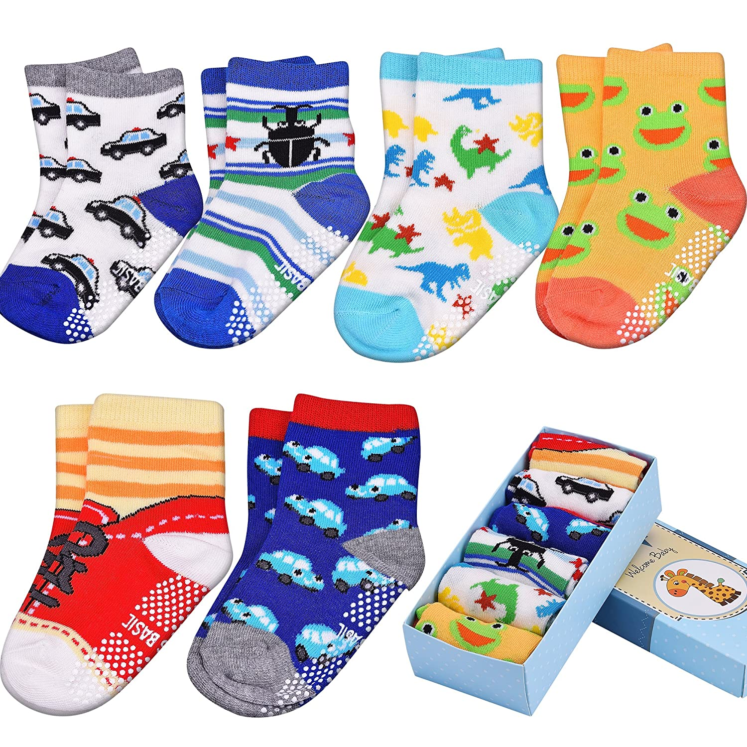 Toddler & Baby Socks, Non Slip, Contton Blended Strentchable 6-Pack boxed set for 12-36 Month Baby Girls and Baby Boys Newever