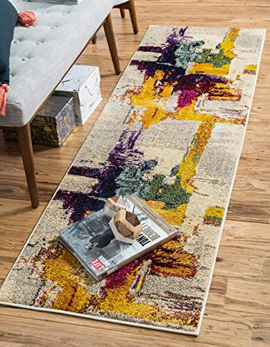 Unique Loom Estrella Collection Colorful Abstract Beige Runner Rug 2' 7 x 10' 0