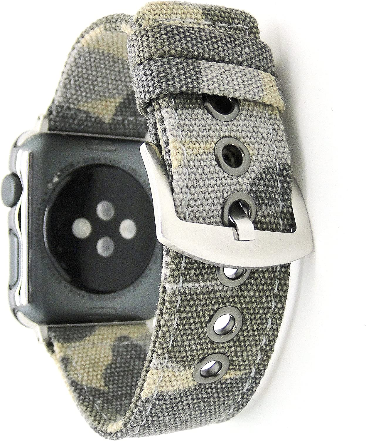 NewSilkRoad for Apple Watch Band 38mm,Canvas Cotton Woven Bracelet Wrist Strap with Metal Clasp Adapter for iWatch Series 1 Series 2 Series 3 Sport Edition (Camouflage Brown)