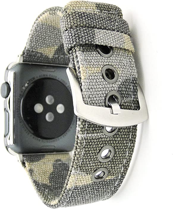 NewSilkRoad for Apple Watch Band 42mm,Canvas Cotton Woven Bracelet Wrist Strap with Metal Clasp Adapter for iWatch Series 1 Series 2 Series 3 Sport Edition (Camouflage Brown)