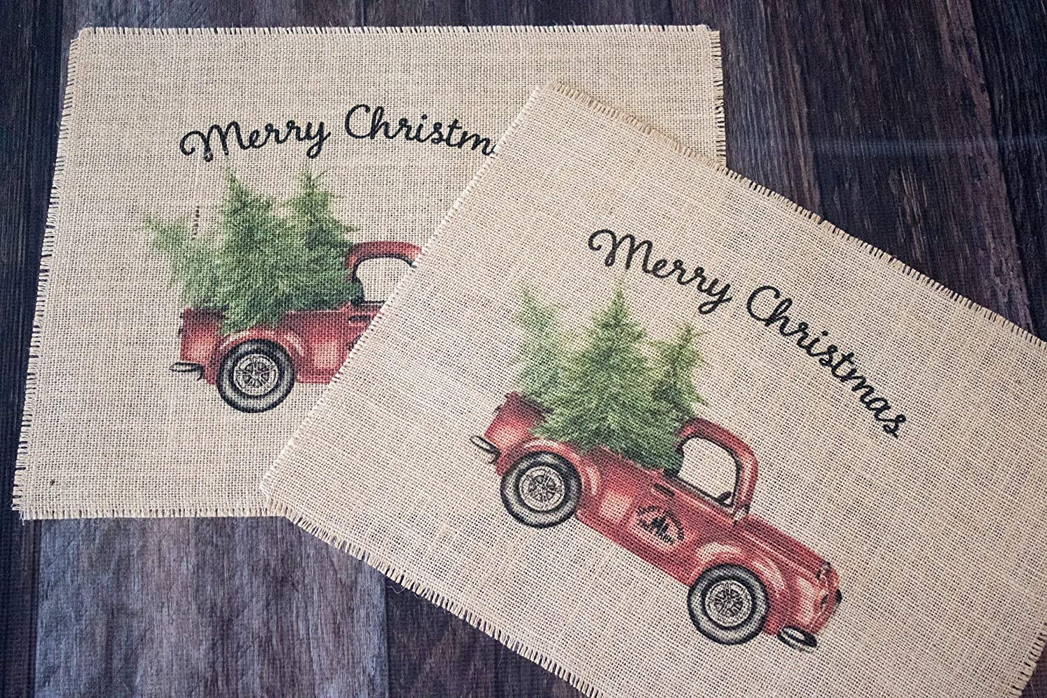 Vintage Red Truck Christmas Placemats.Vintage Red Truck Merry Christmas Burlap Placemats