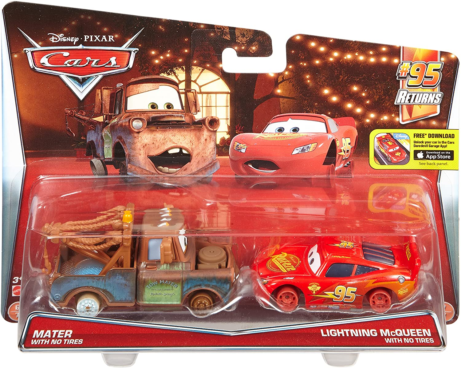 Amazon Com Disney Pixar Cars Diecast Character Car 2 Pack Mater With No Tires Lightning Mcqueen With No Tires Toys Games