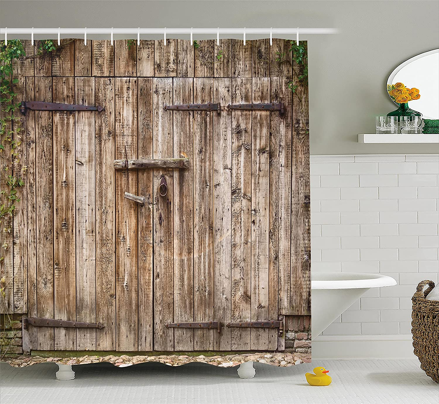 Ambesonne Rustic Shower Curtain, Old Oak Closed Garage Door With Steel  Hinges Vintage Typical Cottage Doorway Image, Fabric Bathroom Decor Set  With Hooks, ...