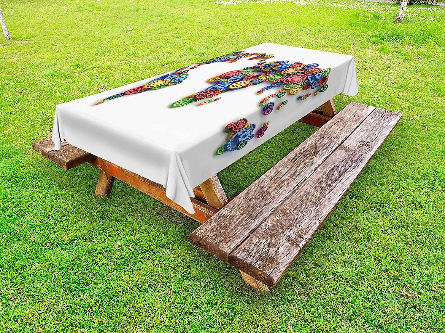 Multicolor pik/_12703/_58x104 Artwork with Musical Notes Rhythm Song Ornamental in Vibrant Colors Fantasy Theme Decorative Washable Picnic Table Cloth Ambesonne Music Outdoor Tablecloth 58 X 104 inches