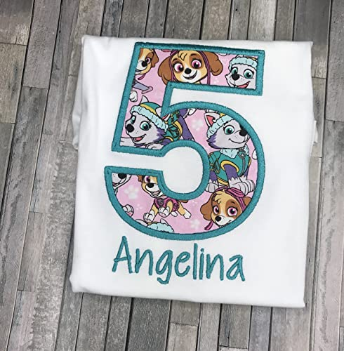 Girls Embroidered Skye Everest Paw Patrol Birthday Shirt Personalized Custom With Name 2nd 3rd 4th 5th