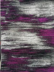 Modern Area Rug Contemporary Purple Grey and Black Trendz Design 863 (5 Feet 2 Inch X 7 Feet 1 Inch)