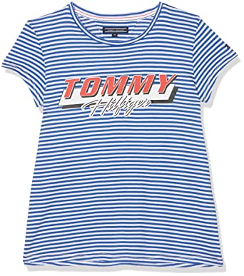 c392c96a Tommy Hilfiger Girl's Snappy Tee S/s T-Shirt, Blue (Nautical 493), 140  (Manufacturer Size: 10): Amazon.co.uk: Clothing