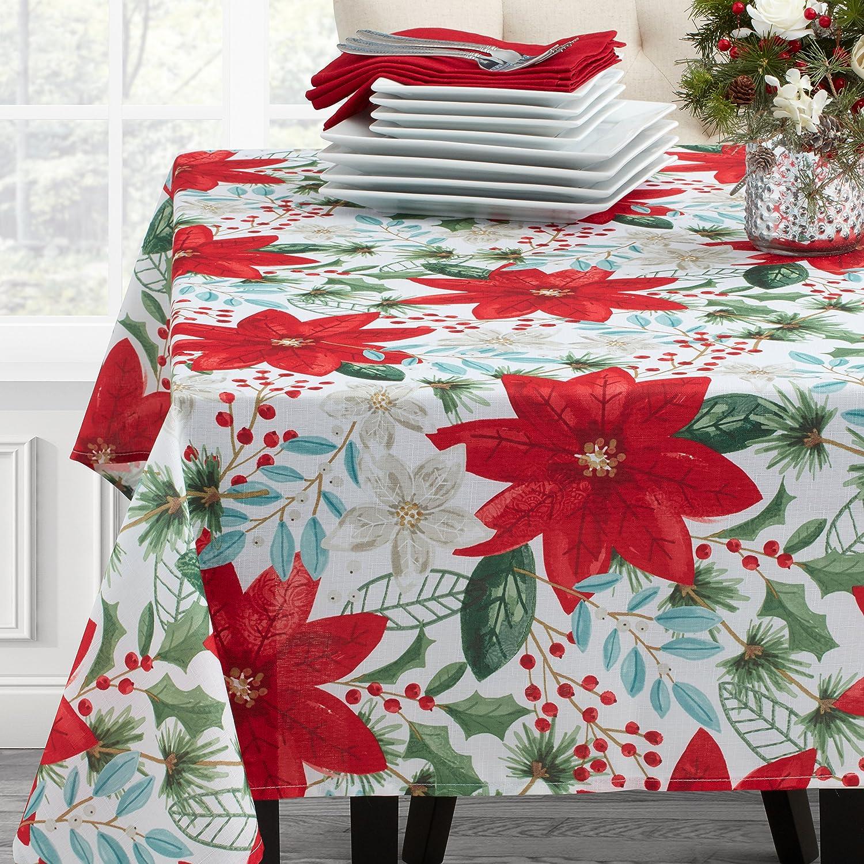 Benson Mills Poinsettia Evergreen Tablecloth, 60x84, Multicolor 20540