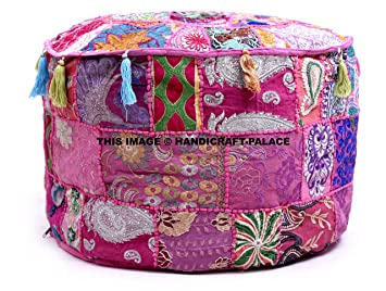 Handicraft-Palace Indian Traditional Home Decorative Ottoman Handmade Pouf,Indian Comfortable Floor Cotton Cushion Ottoman Cover Embellished with ...