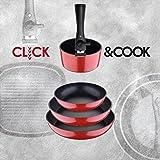 Set Click&Cook 5 Piezas, 3 sartenes y 1 cazo/Cacerola + Mango Intercambiable,