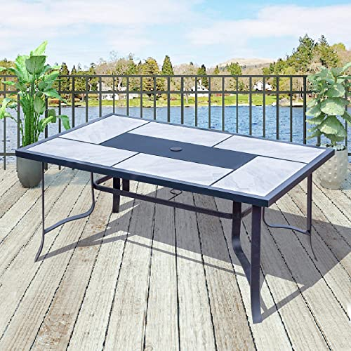 Top Space Outdoor Dining Table Square Bistro Table Heavy Duty Patio Furniture with Umbrella Hole for Garden, Yard, Balcony, Porch 63.2 x 39 x 29.5 , Beige Black