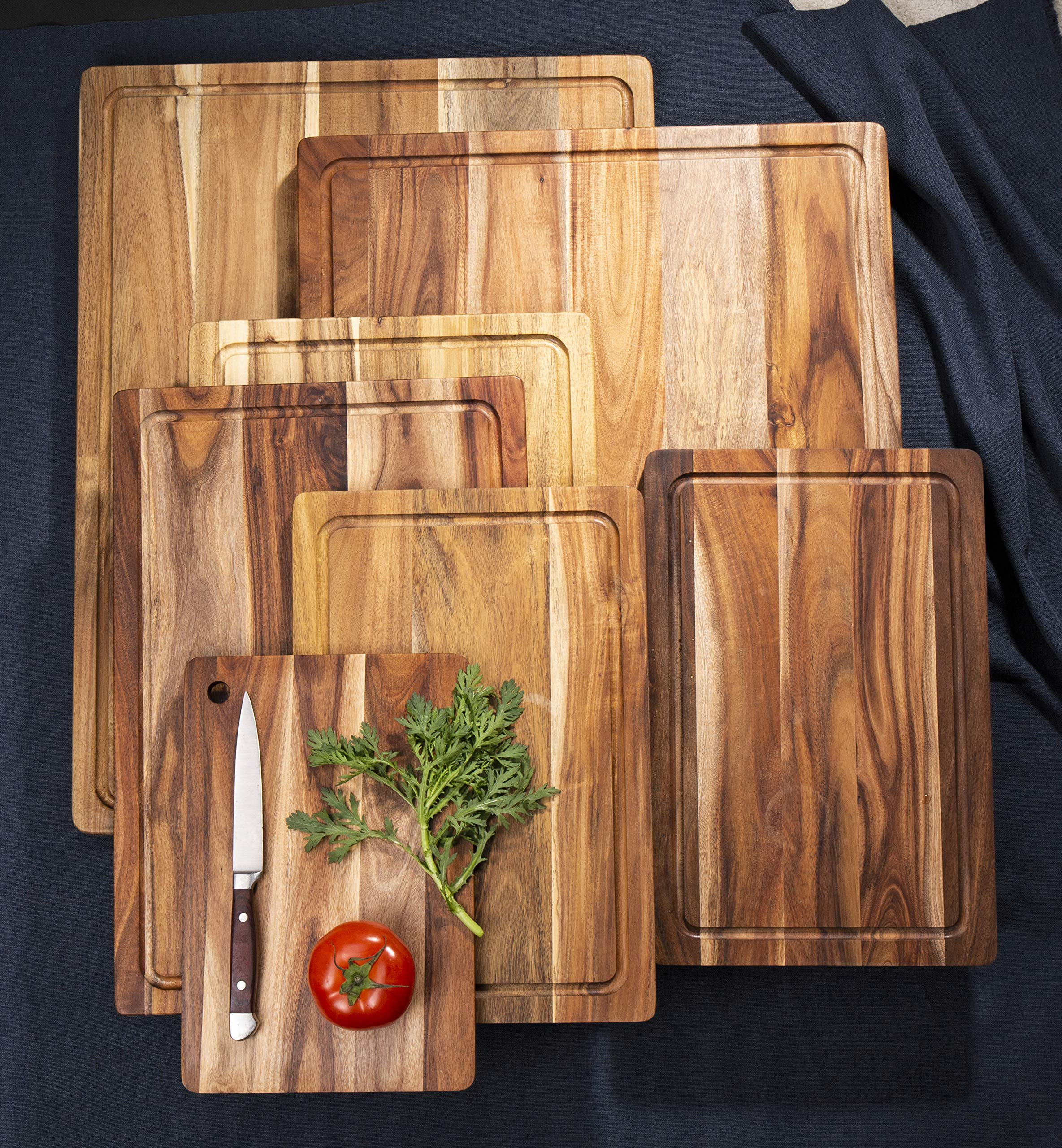 AIJAI Natural Wood Cutting Board(M-XL), Large Multipurpose Thick Acacia Wood Chopping Board for Kitchen Serving Tray for Vegetables, Fruit, Meat, Fish & Cheese| Reversible Butcher Block by AIJAI (Image #5)