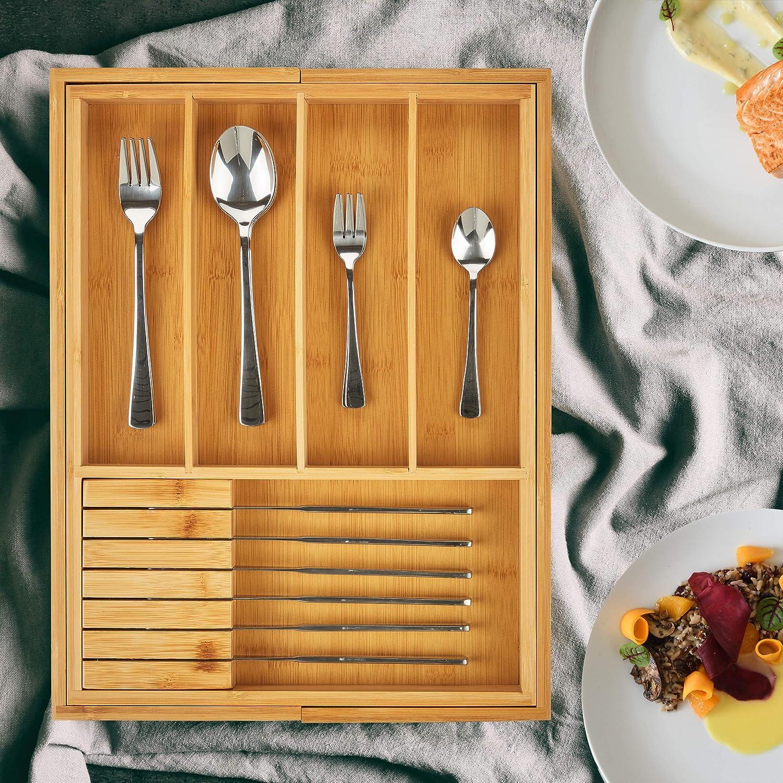 Nature 2 Blocs /à Couteaux Cuisine Bac /à Couvert Relaxdays 10027482 Range Bambou HxLxP 5 x 56 x 43 cm Bois Tiroir