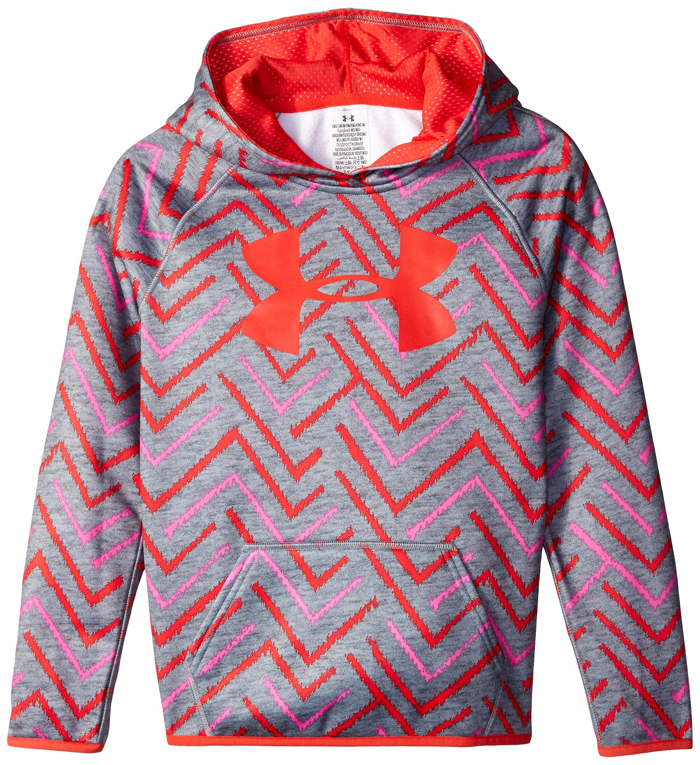 Under Armour Women's Armour Fleece Printed Big Logo Hoodie, True Gray Heather /Pomegranate, Youth X-Large by Under Armour