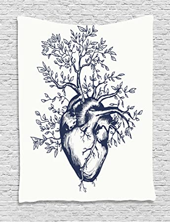 Amazon.com: Ambesonne Surrealistic Tapestry by, Human Heart Blooming ...