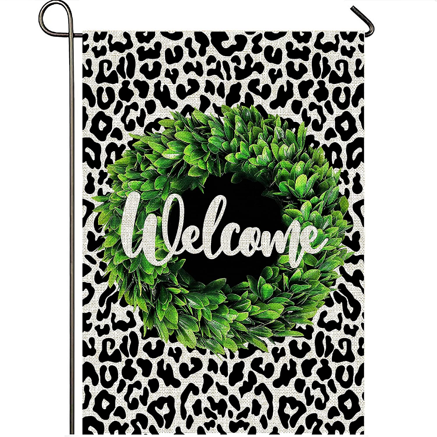 Mogarden Welcome Garden Flag, Double Sided 12.5 x 18 Inch Leopard Design, Premium Burlap Small Decorative Yard Flag for All Seasons for Outside
