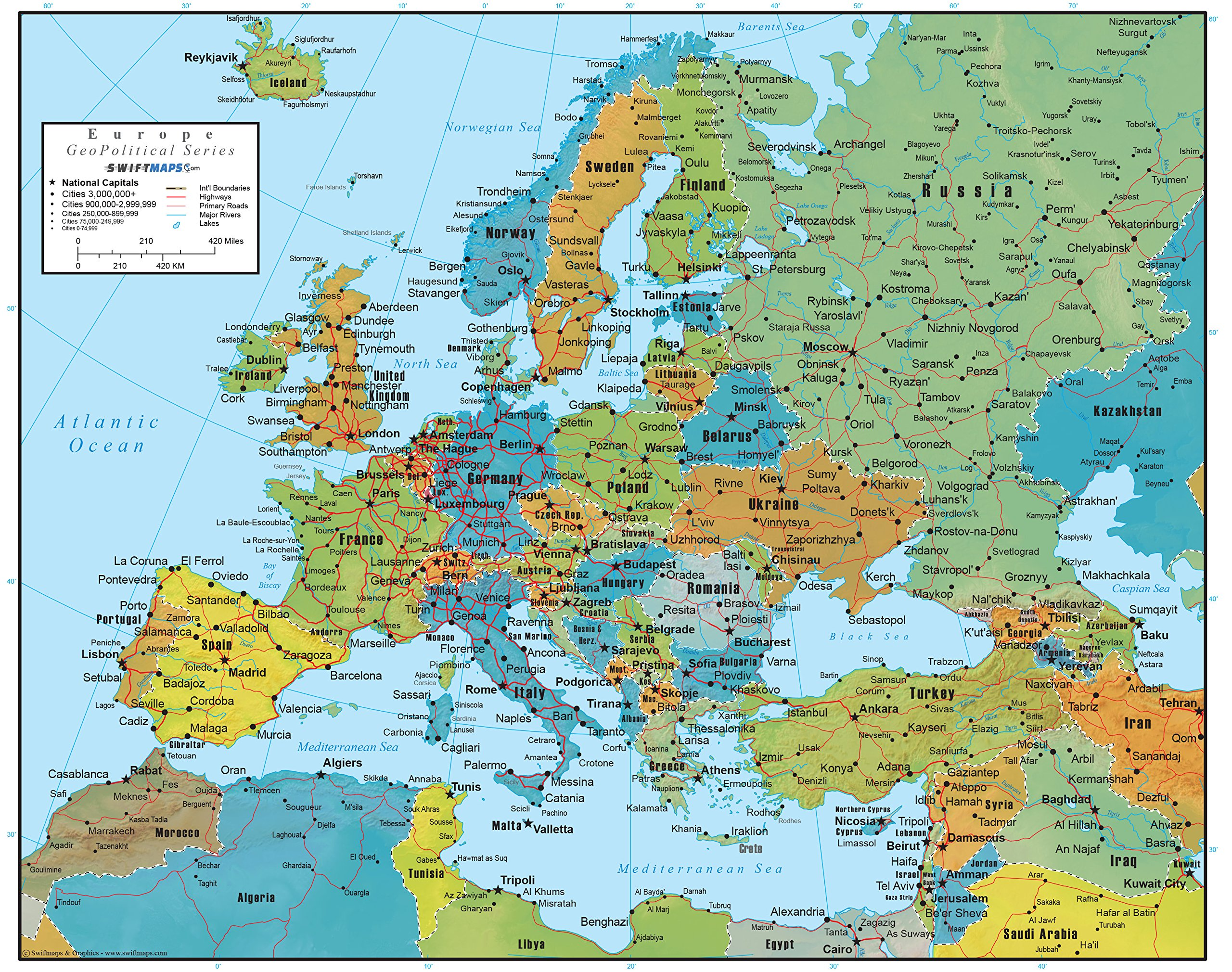 Europe Wall Map GeoPolitical Edition by Swiftmaps (36x44 Laminated)