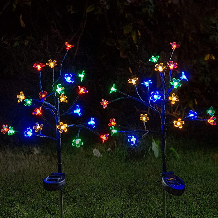 Joiedomi Solar Yard Garden Stake Lights 2 Cherry Blossom Flower Multi-Color Changing 20 LED Decorative Lights Outdoor Waterproof for Walkway Pathway Yard Lawn Patio Courtyard