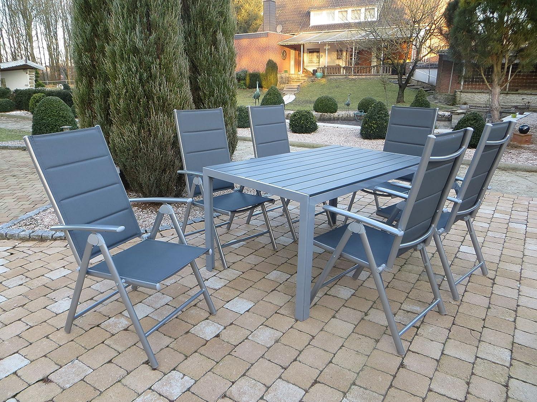 7-teilige absolut wetterfeste Gartenmöbelgruppe Heat silber, Aluminium Textilen Klappsessel und Polywood Gartentisch, aus dem Hause Pure Home & Garden