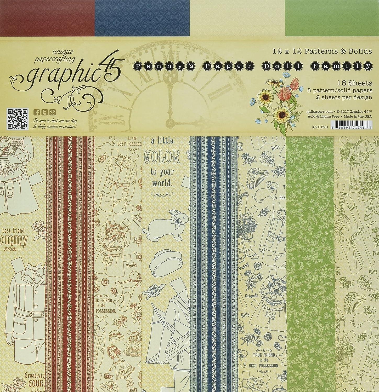 Graphic 45 12x 12patrones y sólidos Pad, Azul, Rojo, Verde, Rosa 4501590