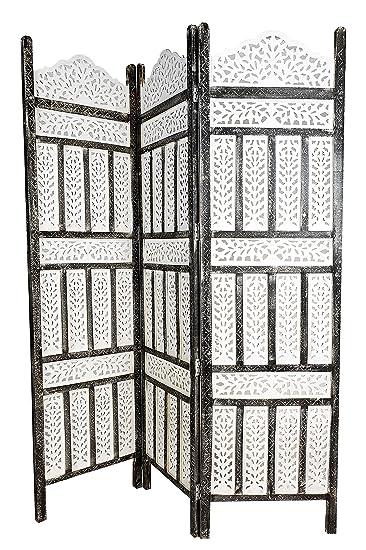 Lieblich Orientalischer Paravent Raumteiler Aus Holz Pratap 150 X 180cm Hoch In  Weiss | Indischer Trennwand Als
