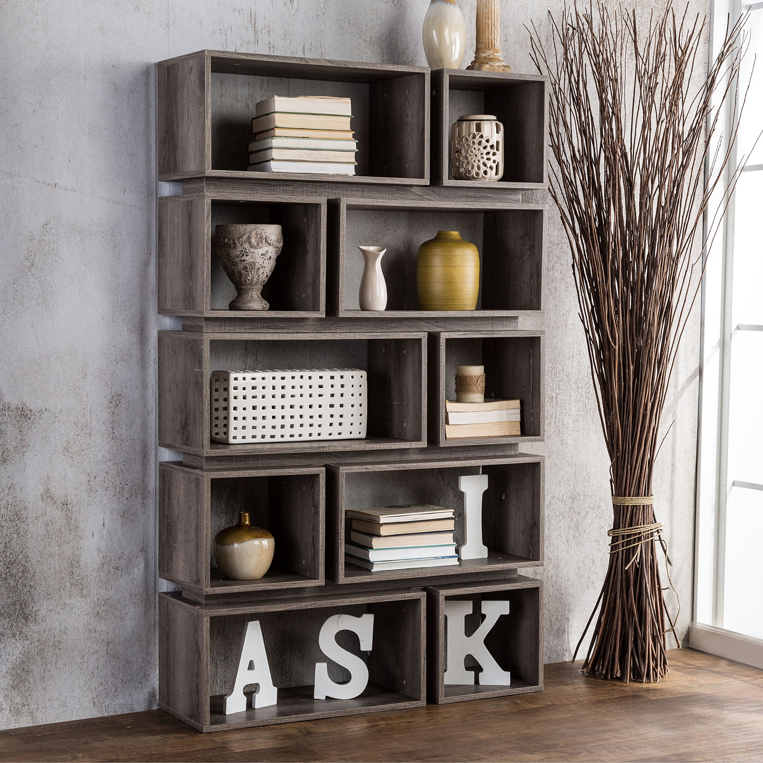 Modern Distressed Wood Open Back Book Case with 10 Shelf - Includes Modhaus Living Pen