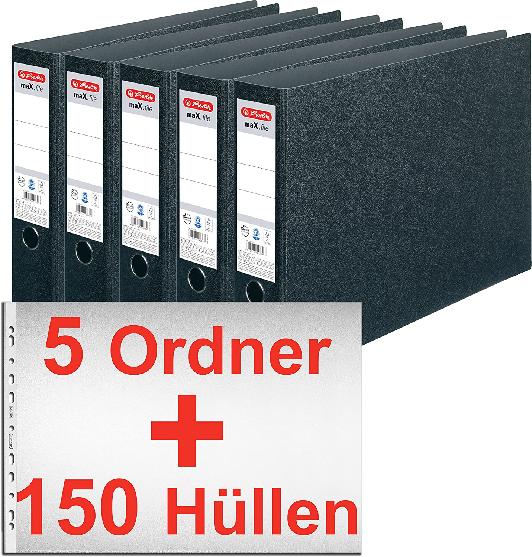 herlitz Hartpappe Ordner maX.file  A3 QUER BREIT 75mm 7,5cm Ringbuch Querformat