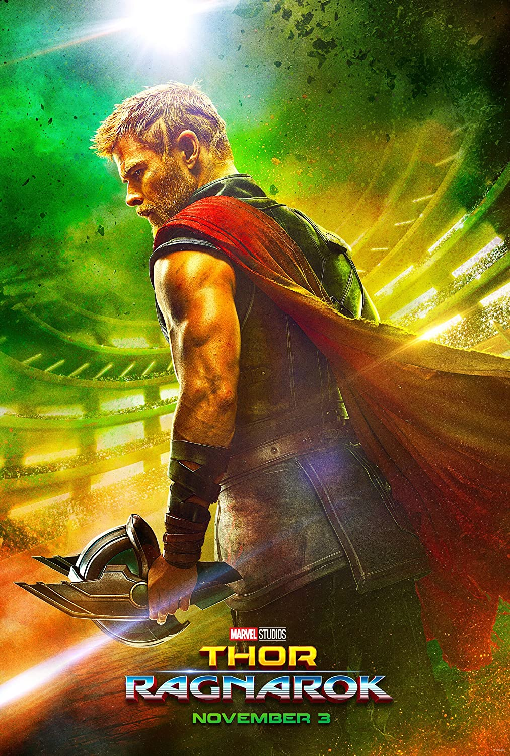 Thor 3 : Ragnarok (2017) - Thor Side - 13 in x 19 in Movie Poster Flyer BORDERLESS + Free 1 Tile Magnet