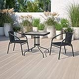 Flash Furniture 2 Pack Black Rattan Indoor-Outdoor Restaurant Stack Chair
