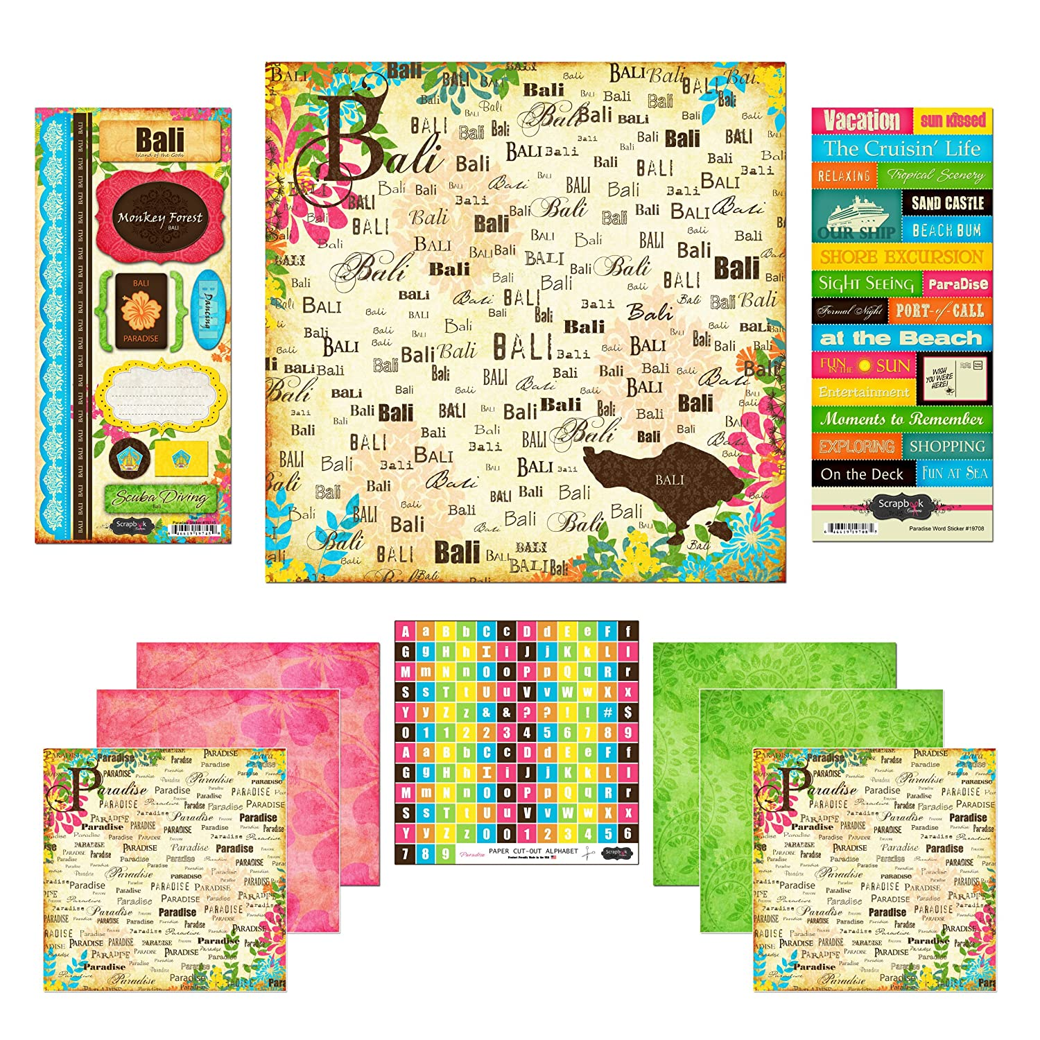 Amazon com scrapbook customs themed paper and stickers scrapbook kit bali paradise arts crafts sewing