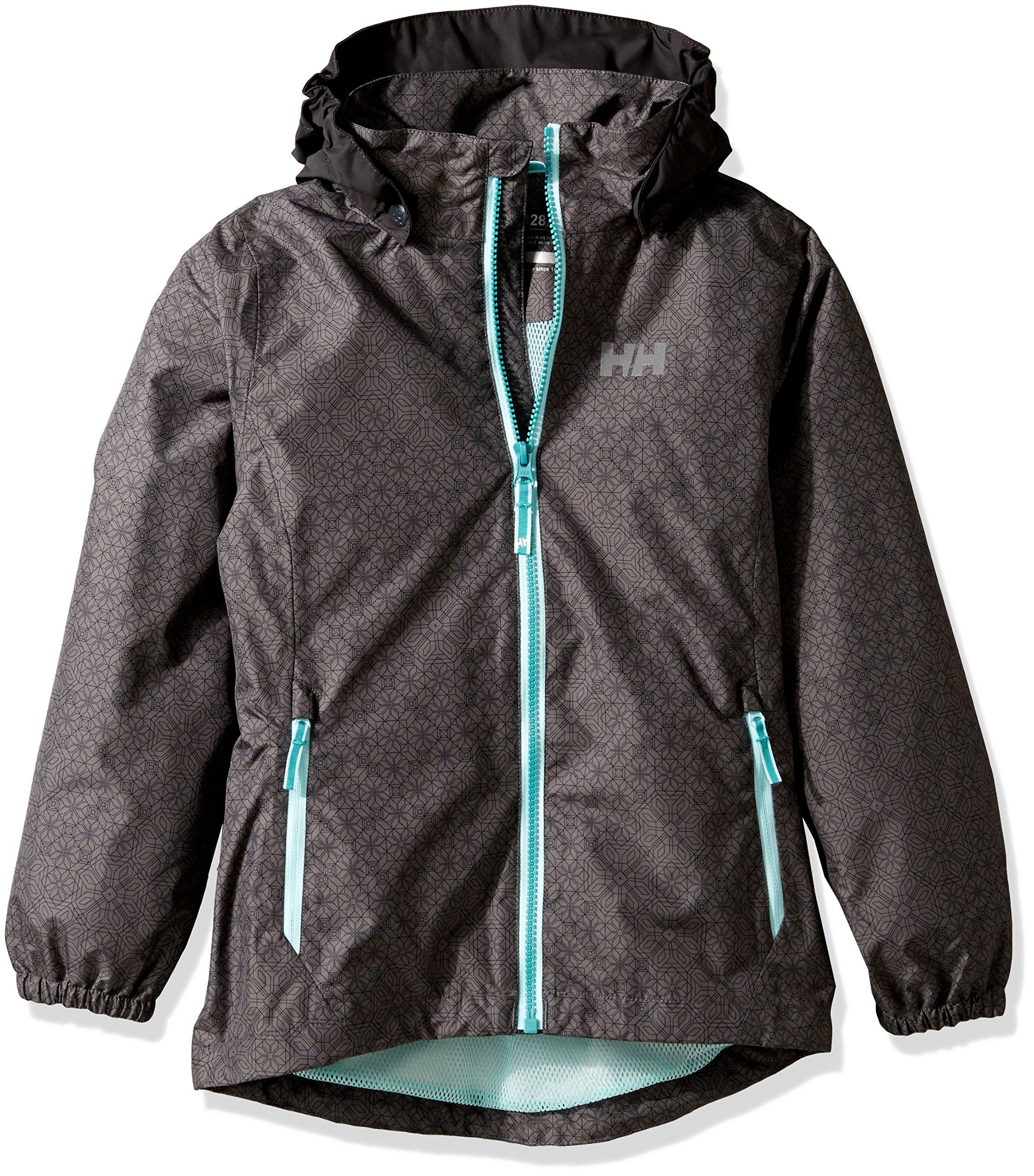 Helly Hansen Girls Freya Rain Jacket, Size 10, Charcoal Print