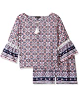 My Michelle Big Girls' Printed Two Piece Set With Crochet Trim and Tassel Tie
