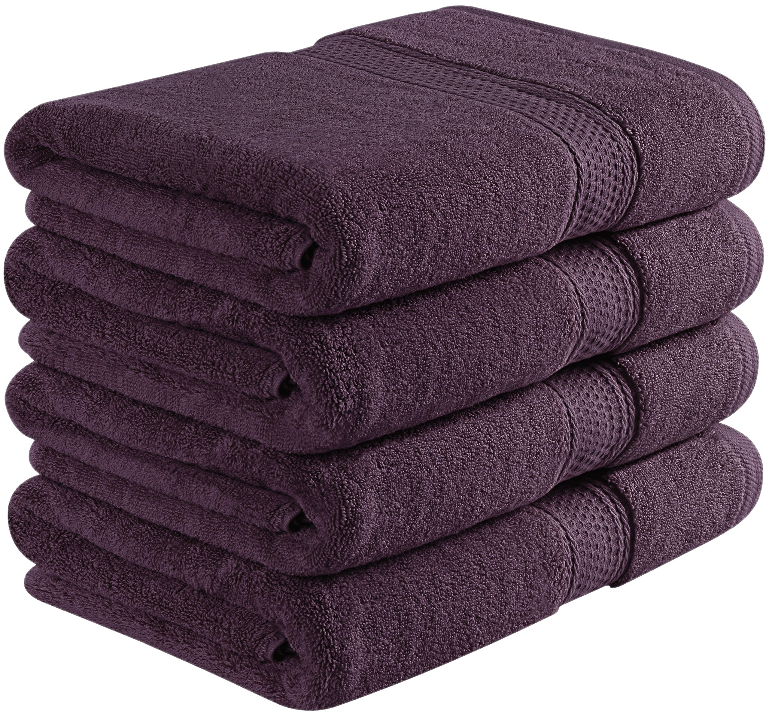 Utopia Towels 700 GSM Premium Plum Bath Towel Set - Pack of 4 - (27 x 54 Inches Each) - 100% Ring-Spun Cotton Towels for Home, Hotel and Spa – Plum Towels Set with Maximum Softness and High Absorbency by Utopia Towels