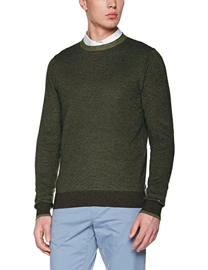 Tommy Hilfiger Men s Textured Two Colour C-nk Cf Sweatshirt  Amazon ... 19a86fd0843