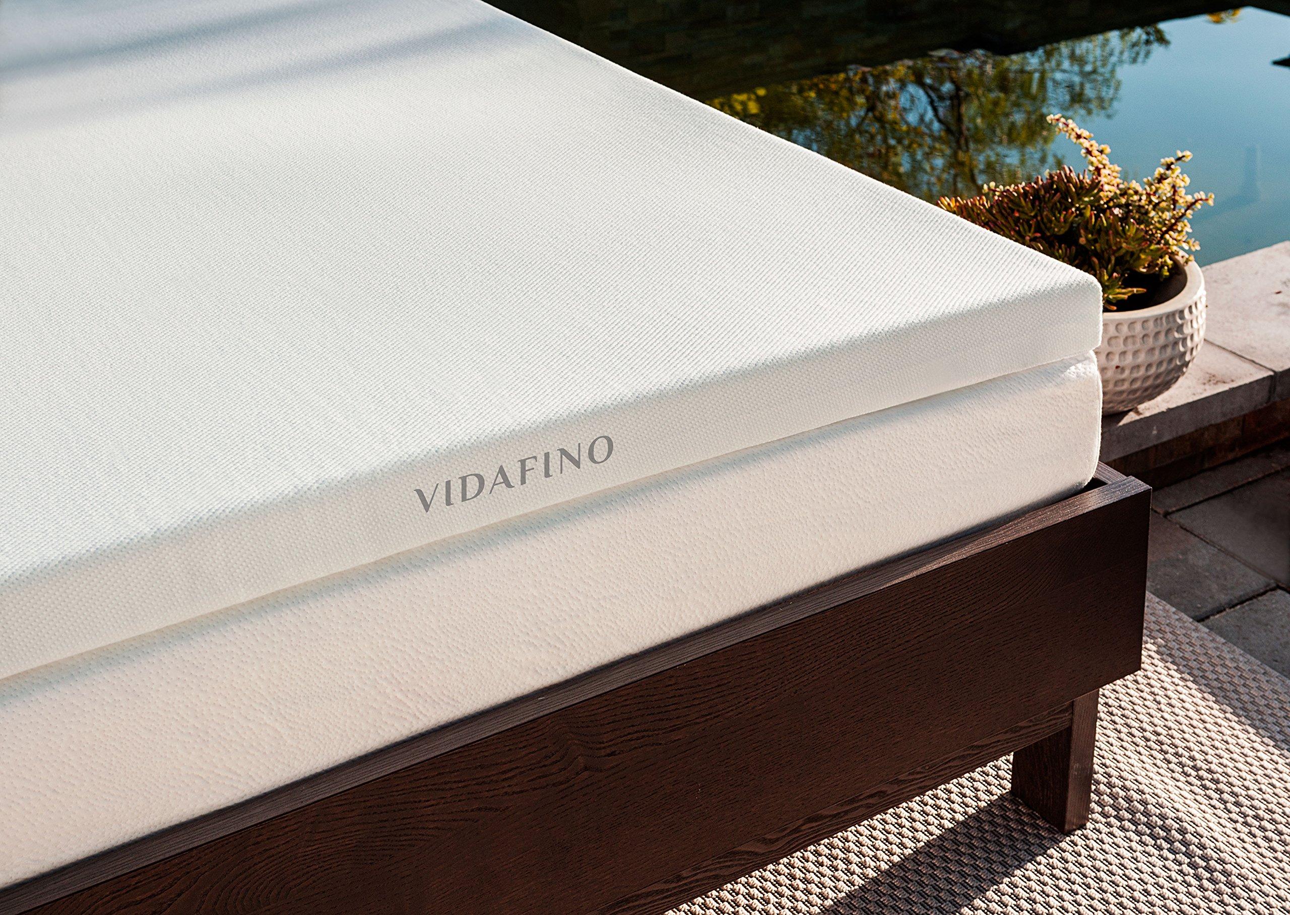Vidafino 4'' Inch AeroBreathe® Gel Infused Reactive Memory Foam Mattress Topper - No-Risk 45 Day Trial & 5-Year Warranty - CertiPUR & Oeko-tex Certified (Full)