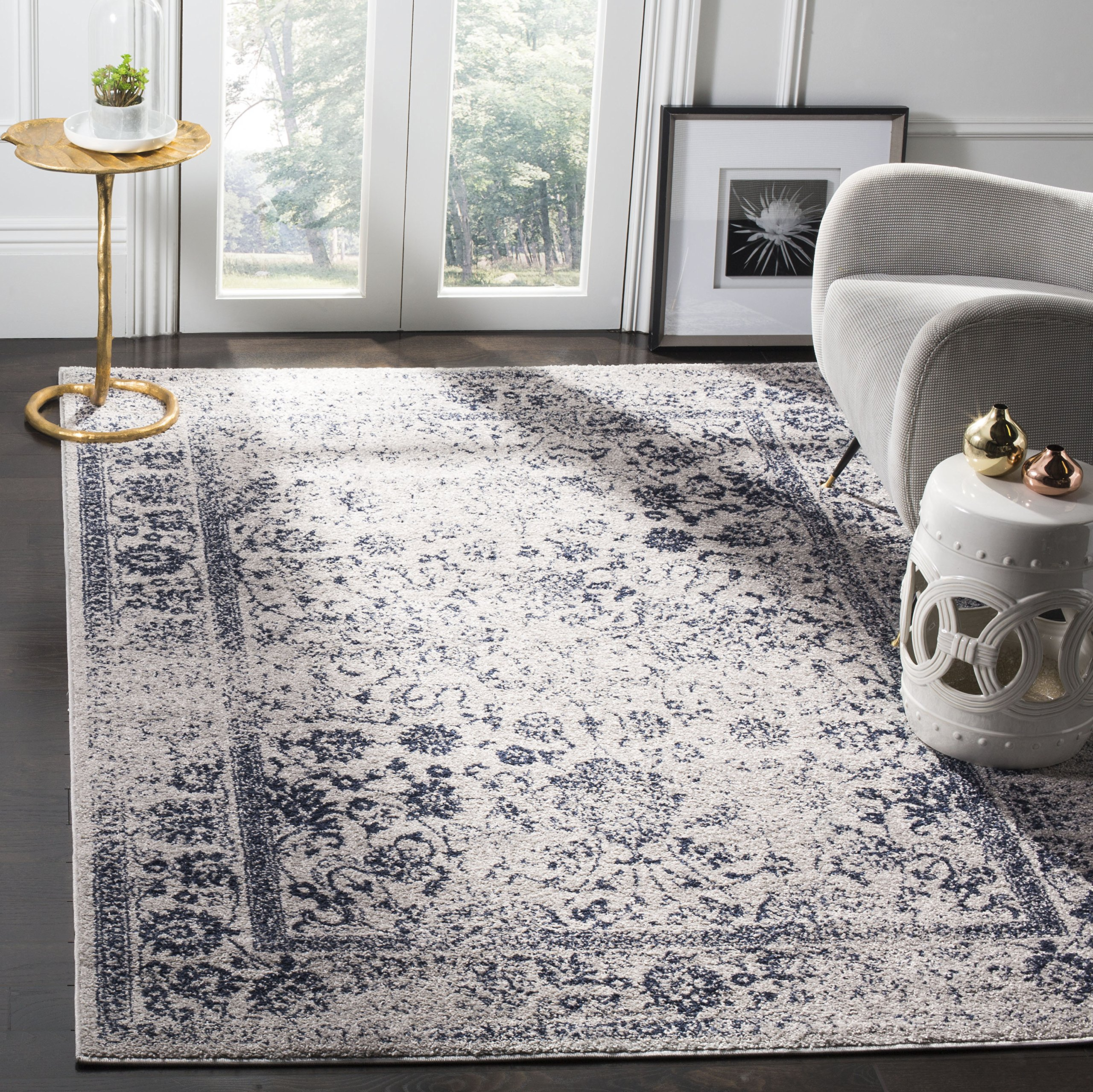 Safavieh Adirondack Collection ADR109P Grey and Navy Blue Oriental Vintage Distressed Area Rug (6' x 9)