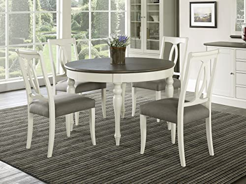 Everhome Designs – Vegas 5 Piece Round to Oval Extension Dining Table Set for 4 Oval Back Chairs