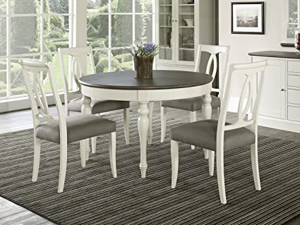 Everhome Designs - Vegas 5 Piece Round to Oval Extension Dining Table Set  for 4 (Oval Back Chairs)
