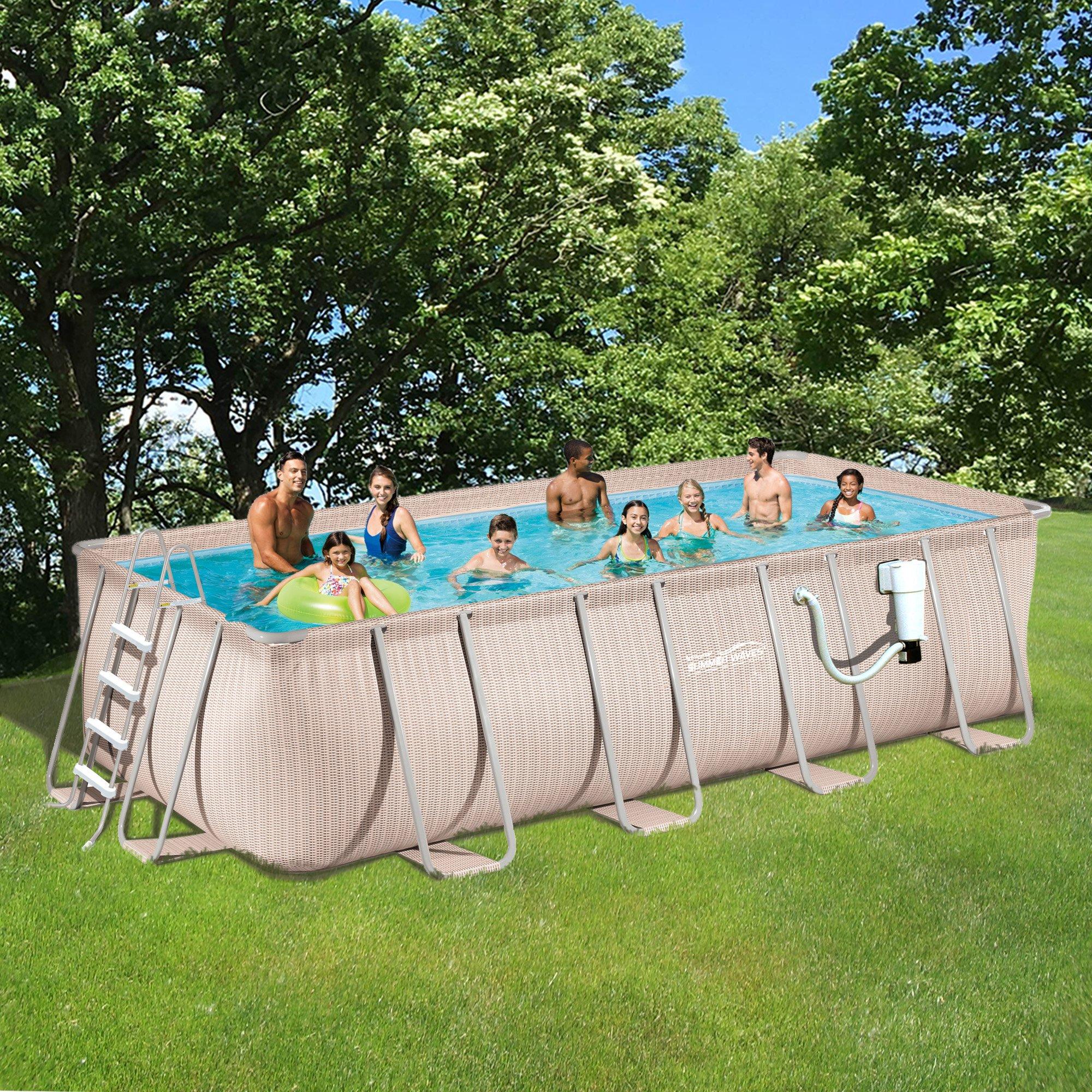 Light Wicker Pool Package 9'x18' Rect Metal Frame 52'' Deep | Summer Waves NB2233