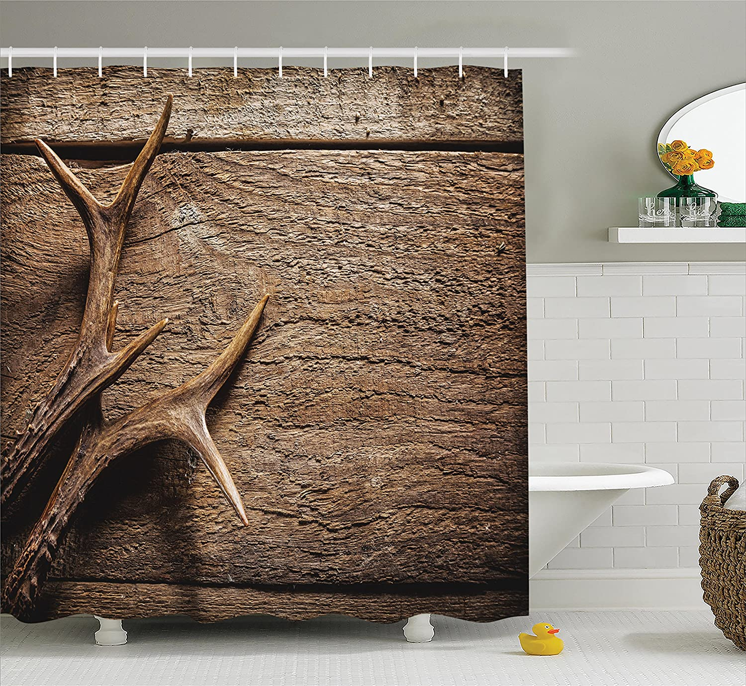 Shower curtain deer antler decor bathroom rustic extra for Hunting bathroom decor