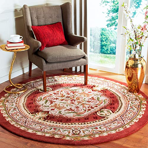 Safavieh Classic Collection CL755A Handmade Traditional Oriental Burgundy Wool Round Area Rug 5 Diameter