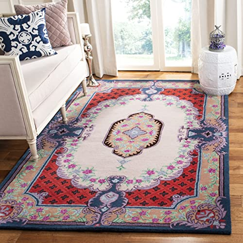 Safavieh Bellagio Collection BLG535A Ivory and Pink Premium Wool Area Rug 5 x 8
