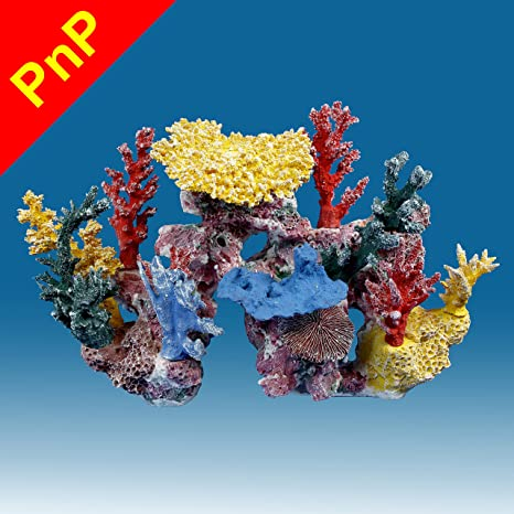 Instant Reef Dm047pnp Large Artificial Coral Inserts Decor Fake Coral Reef Decorations For Colorful Freshwater Fish Aquariums Marine And Saltwater