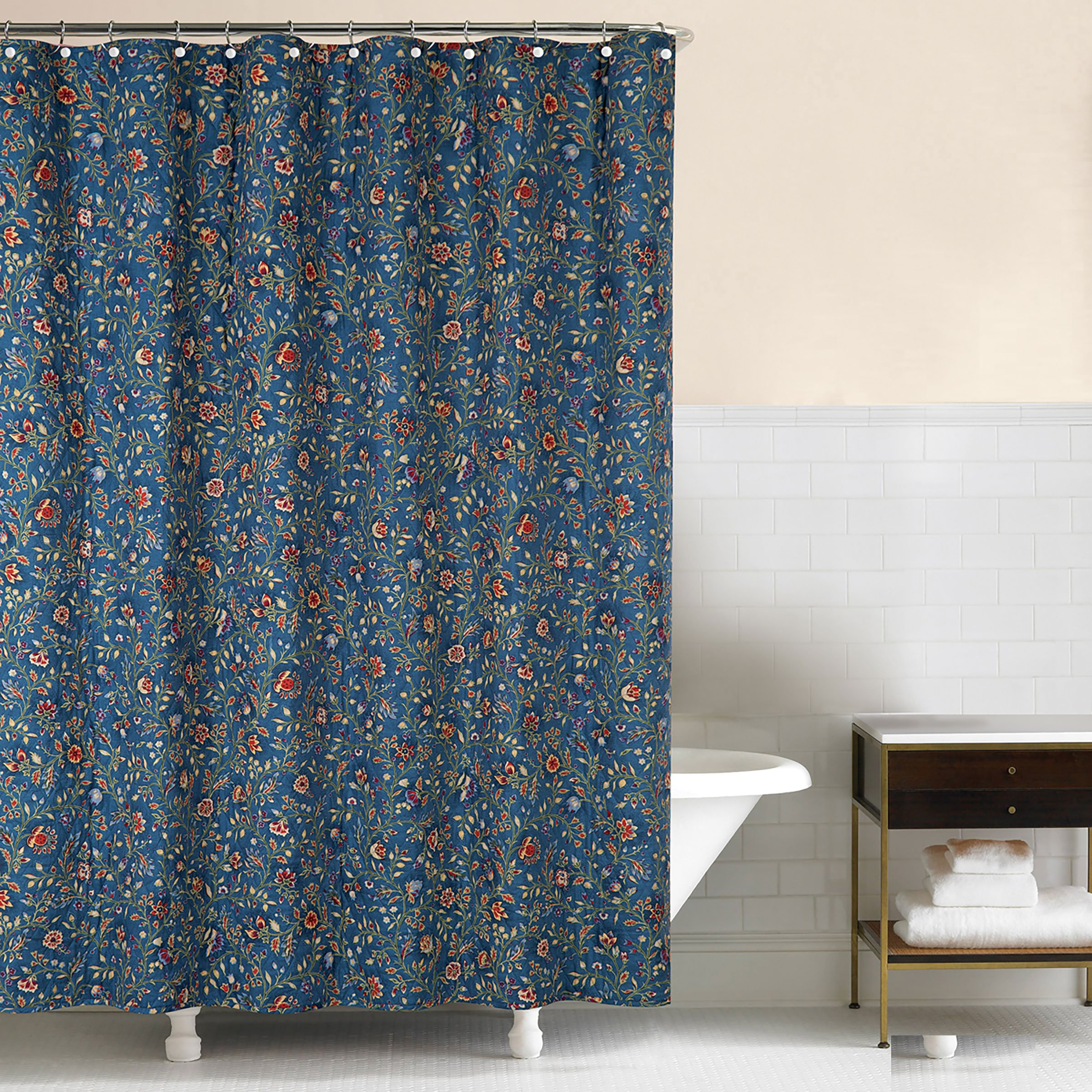 C&F Home, Williamsburg Wakefield Fabric Shower Curtain Blue, 72x72 by C&F Home
