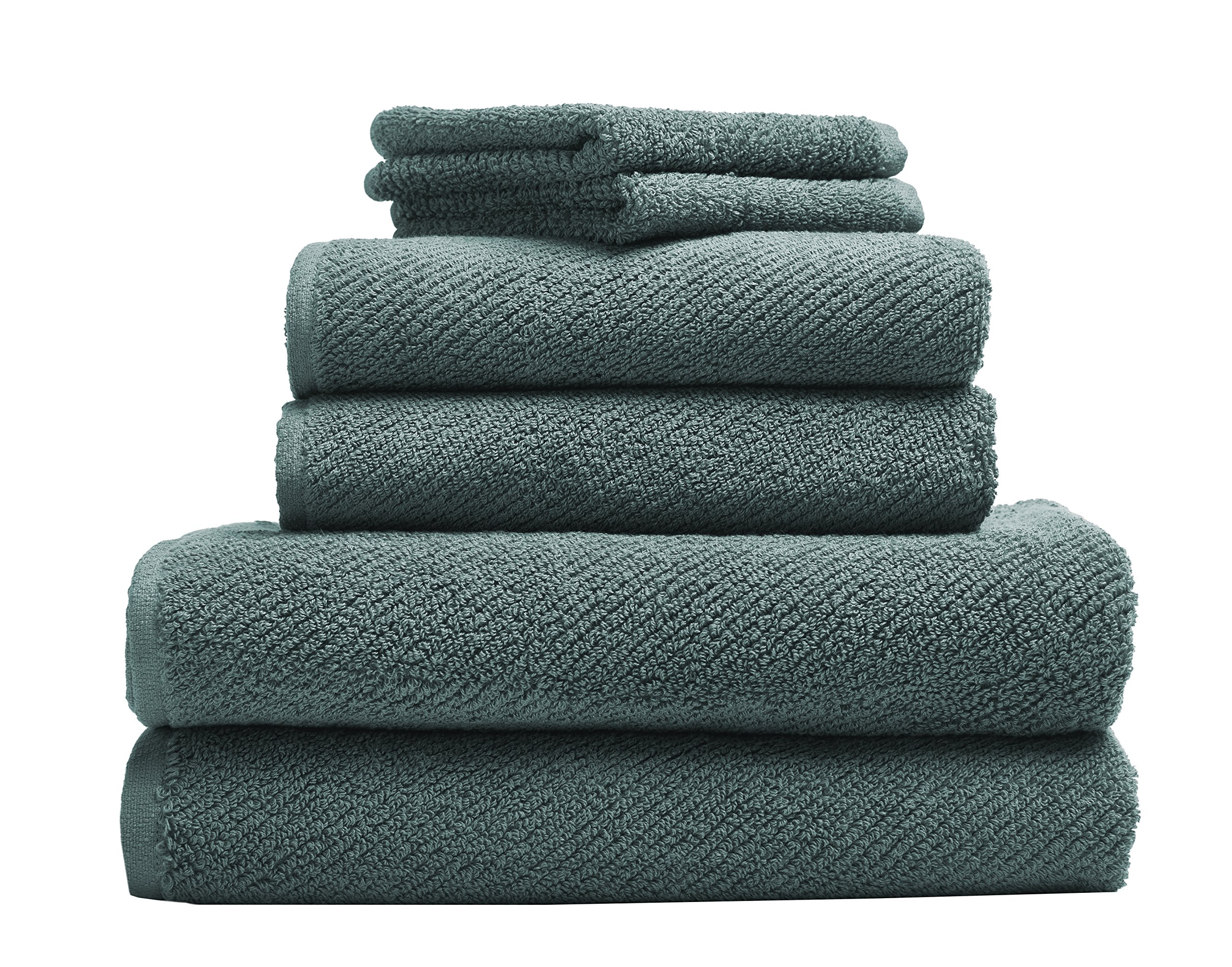 Coyuchi 1019021 6 Piece Organic Air Weight Towel Set, Deep Dusty Aqua